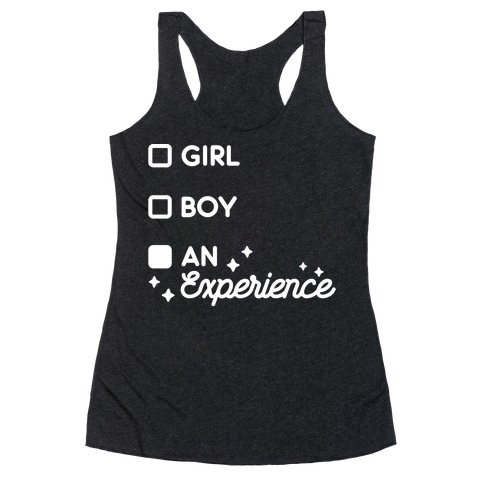 Girl, Boy, An Experience Checklist Racerback Tank Top