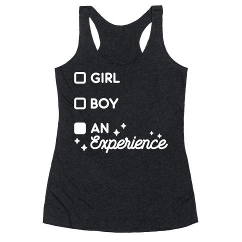 Girl, Boy, An Experience Checklist Racerback Tank Top