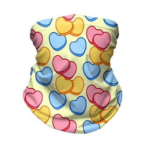 Candy Hearts Mask Yellow Neck Gaiter