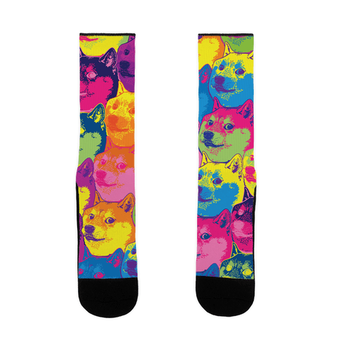 Pop Art Doge Pattern Sock