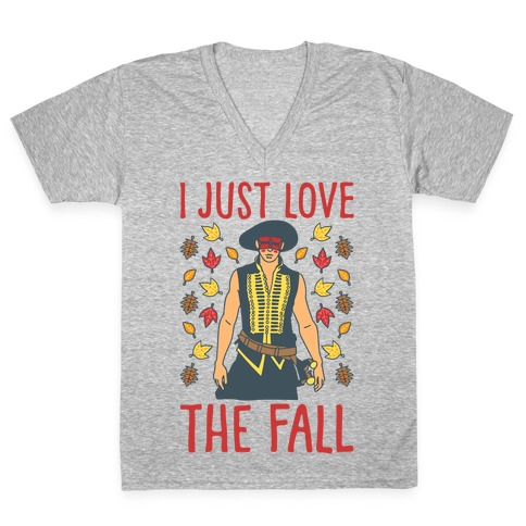 I Just Love The Fall Parody White Print V-Neck Tee Shirt