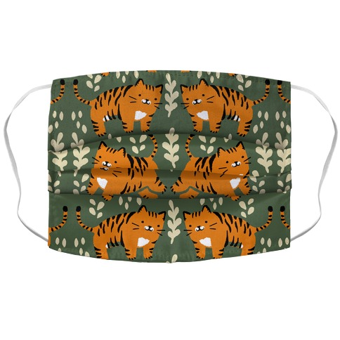 Chubby Tiger Pattern Green Accordion Face Mask