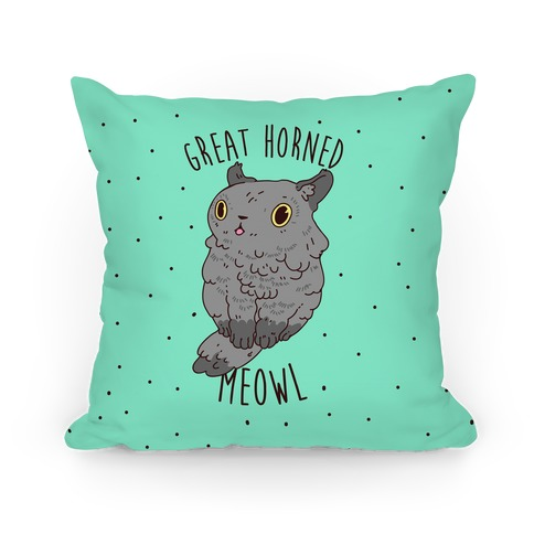 Great Horned Meowl Pillow