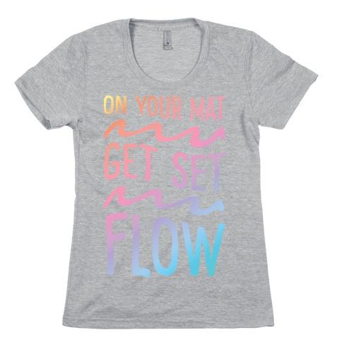 On Your Mat Get Set Flow Yoga Womens T-Shirt