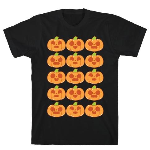Kawaii Pumpkins Pattern Orange T-Shirt