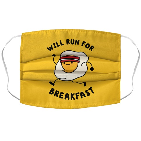 Will Run For Breakfast Accordion Face Mask