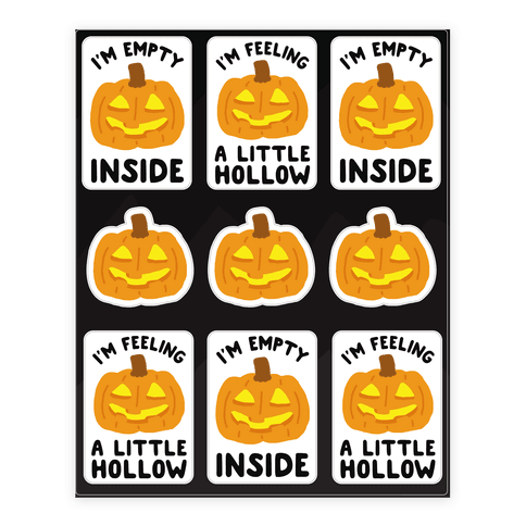 I'm Empty Inside Pumpkin Stickers Sticker/Decal Sheet
