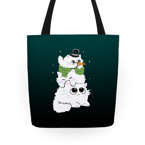 Cat Stack Snowman Tote