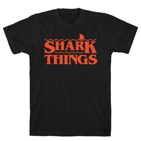 Shark Things Parody White Print T-Shirt