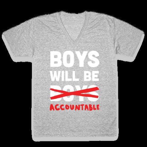 Boys Will Be Accountable V-Neck Tee Shirt