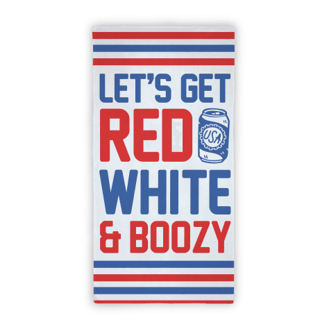 Red White & Boozy Beach Towel Beach Towel