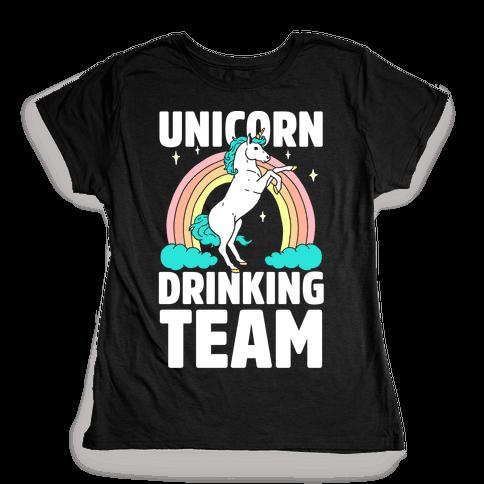 Unicorn Drinking Team Womens T-Shirt