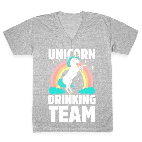 Unicorn Drinking Team V-Neck Tee Shirt