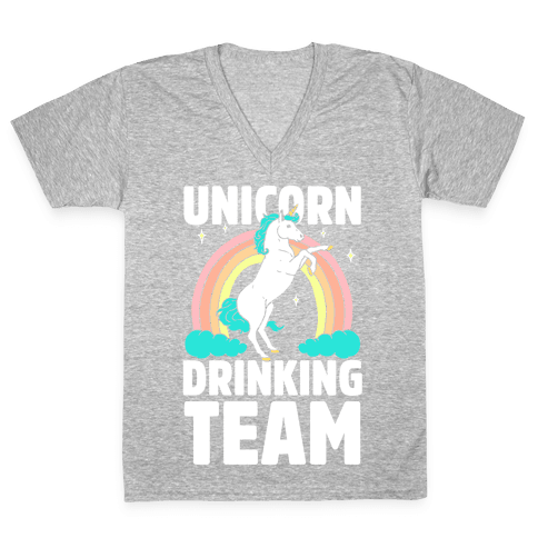 Unicorn Drinking Team V-Neck Tee Shirt