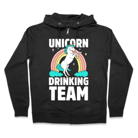 Unicorn Drinking Team Zip Hoodie