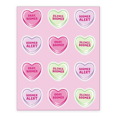 Okay Boomer Conversation Hearts Sticker/Decal Sheet