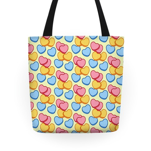 Candy Hearts Pattern Yellow Tote