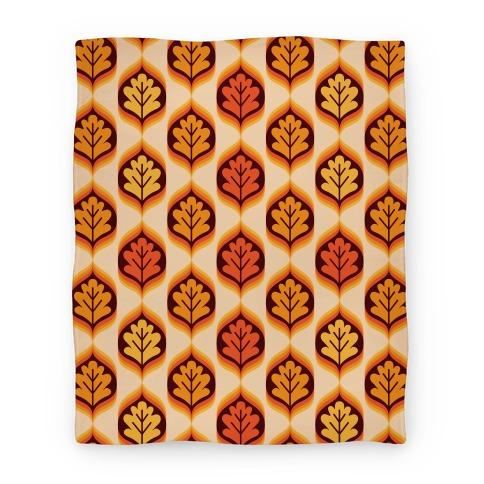 Vintage Autumn Leaves Pattern Blanket