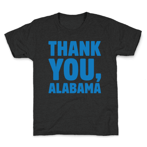 Thank You Alabama White Print Kids T-Shirt