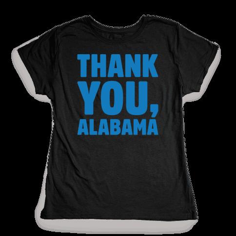 Thank You Alabama White Print Womens T-Shirt
