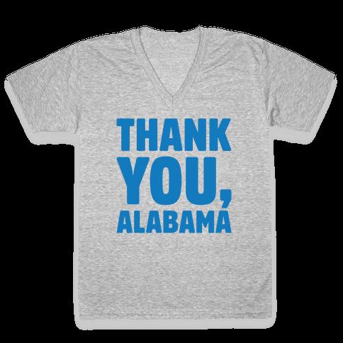Thank You Alabama White Print V-Neck Tee Shirt