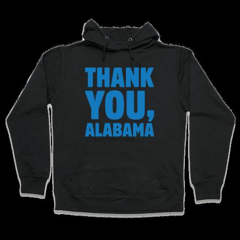 Thank You Alabama White Print Hooded Sweatshirt