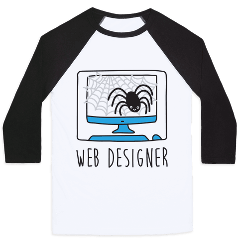 Web Designer Spider Baseball Tee