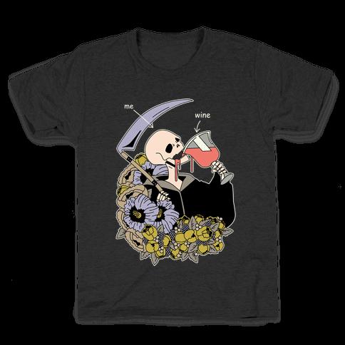 Me Wine Grim Reaper Drinking Kids T-Shirt