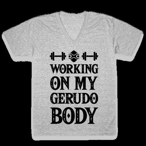 Working On My Gerudo Body V-Neck Tee Shirt