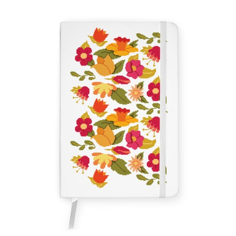Pixel Floral Pattern Notebook
