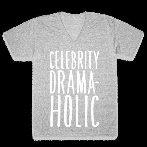 Celebrity Dramaholic White Print V-Neck Tee Shirt