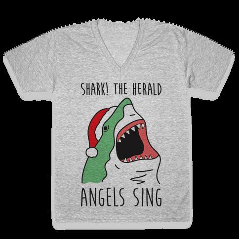 Shark! The Herald Angels Sing V-Neck Tee Shirt