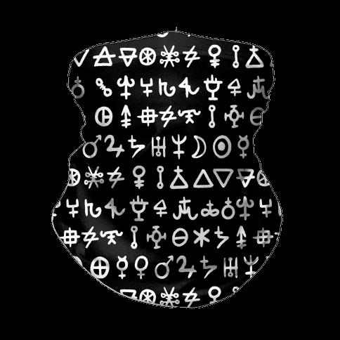 Alchemical Symbols Black and White Neck Gaiter