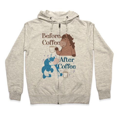 Before Coffee and After Coffee Zip Hoodie