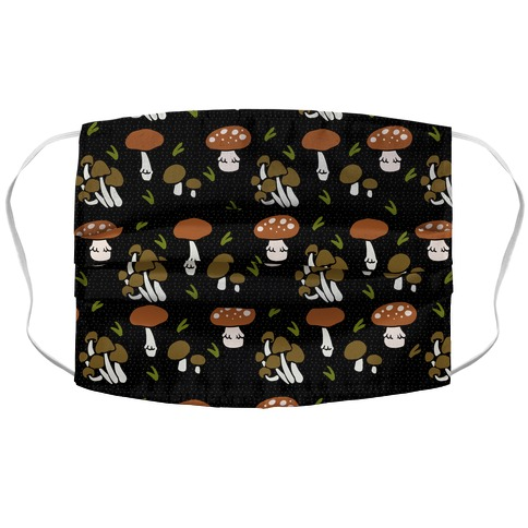 Forest Mushroom Boho Pattern Black Accordion Face Mask
