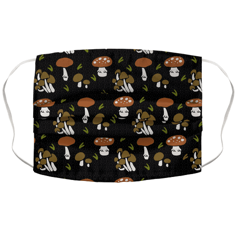 Forest Mushroom Boho Pattern Black Face Mask Cover