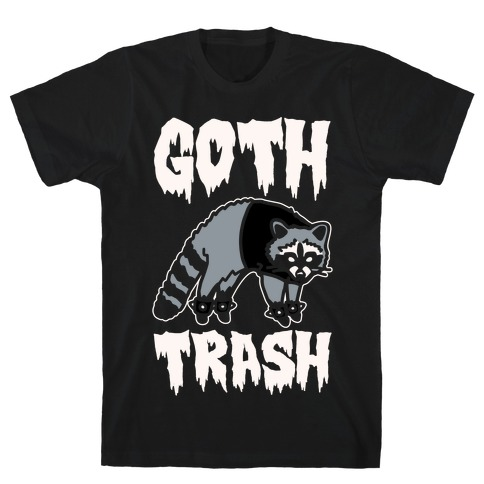 Goth Trash Raccoon White Print T-Shirt