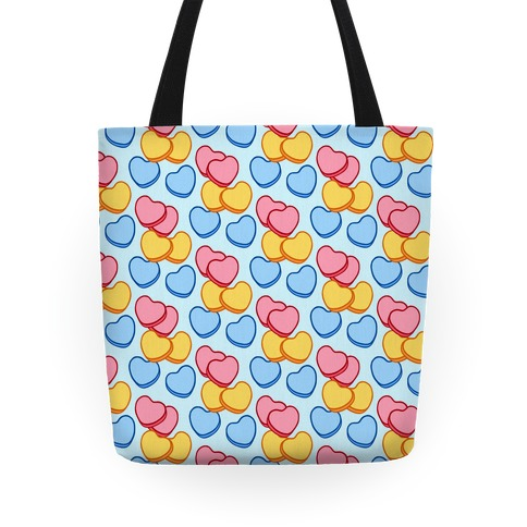Candy Hearts Pattern Blue Tote