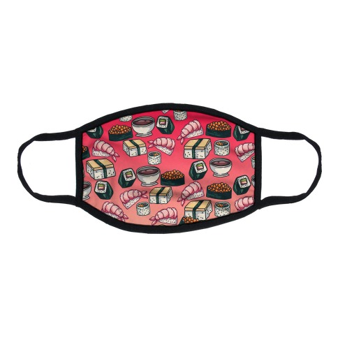 Red Sushi Pattern Flat Face Mask
