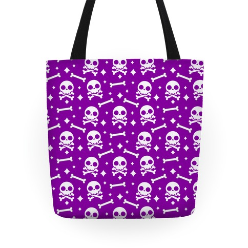 Cute Skull N' Bones Pattern (Purple) Tote