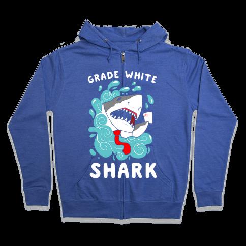 Grade White Shark Zip Hoodie