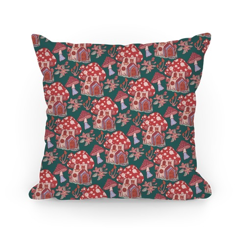 Fairy Mushroom House Pattern Pillow
