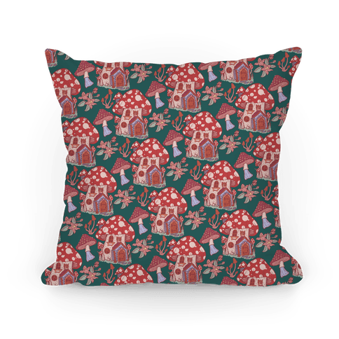 Fairy Mushroom House Pattern Pillow