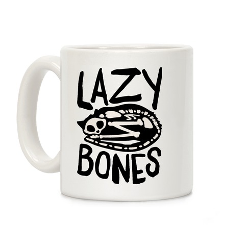Lazy Bones Cat Skeleton Coffee Mug