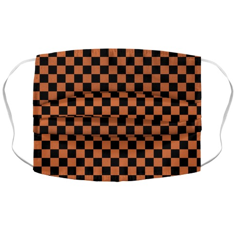 Checkered Black and Rust Orange Accordion Face Mask