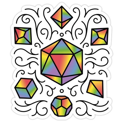 Rainbow DnD Dice Set Die Cut Sticker