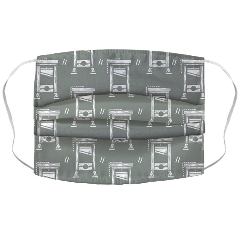 Guillotine Pattern Grey Accordion Face Mask