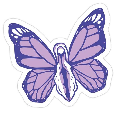 Butterfly Vagina Pattern Die Cut Sticker
