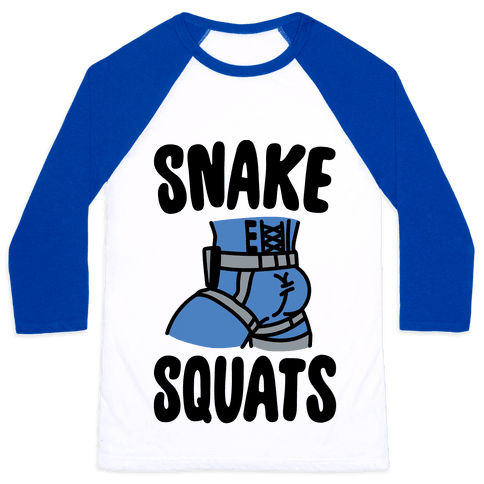 Snake Squats Parody Baseball Tee