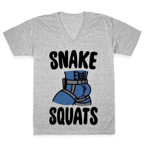 Snake Squats Parody V-Neck Tee Shirt